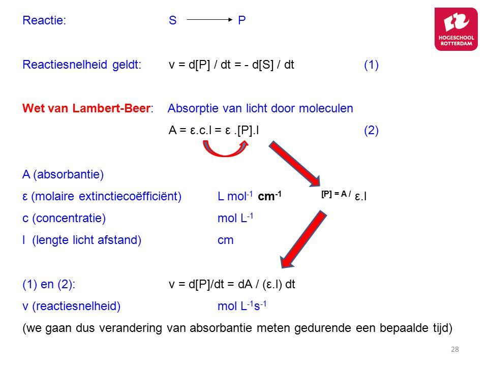 Reactie: S P Reactiesnelheid geldt: v = d[P] / dt = - d[S] / dt (1) Wet van Lambert-Beer: Absorptie van licht door moleculen.